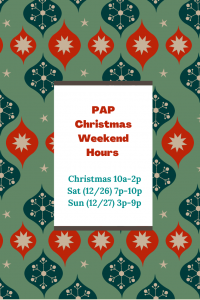 PAP Christmas Wknd Hrs